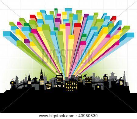 big night city with color diagram
