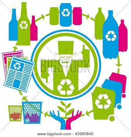 concept recycling with cans, tins, bottles, papers and bins