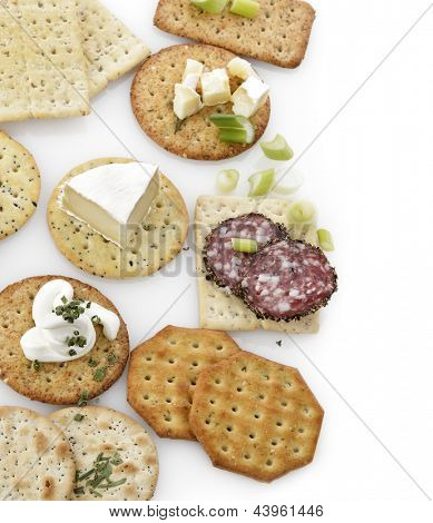 Assorted Crackers On White Background
