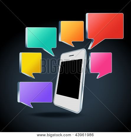 Mobile phone with colorful speech bubbles