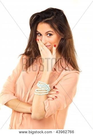 Beautiful Woman Covers Mouth With Hand