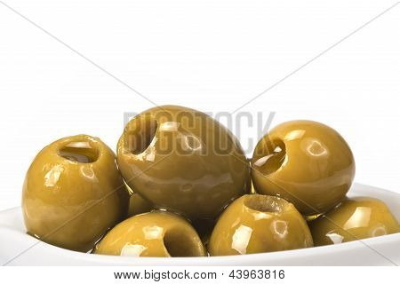 Pitted Olives On A White Background