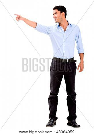 Business man pointing away - isolated over a white background