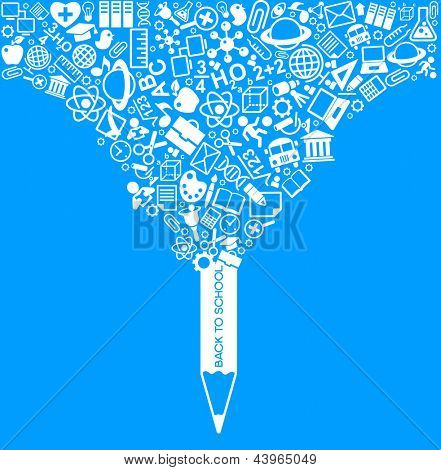 creative splash pencil with school icons set illustration. concept learning. the study of science