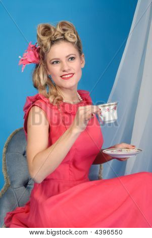 Cute Retro Girl With Tea Cup