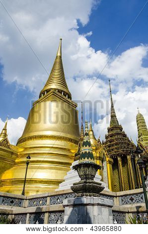 Golden Stupa At Wat Phra Kaew, Temple Of The Emerald Buddha