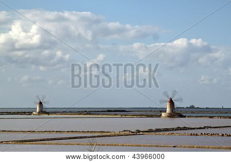 Marsala saltern with two windmills, Sicily