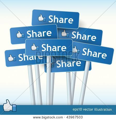 3d vector signposts with the text share on them and a thumb up for liking concept