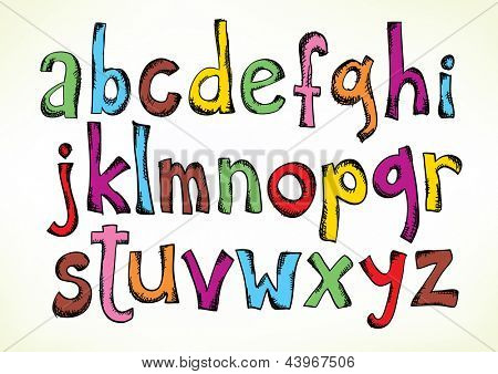 Colorful hand drawn illustration with the full set of the letters of the alphabet in lower case isolated on white