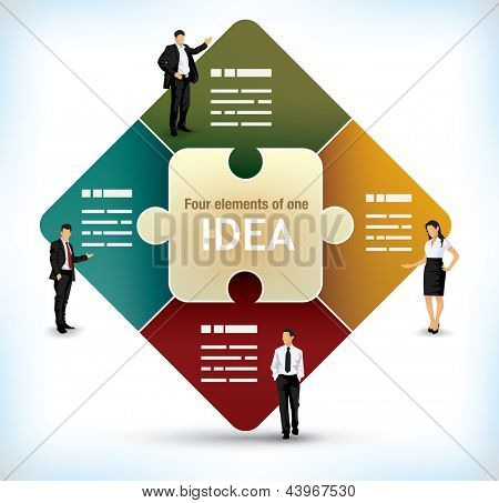 Business presentation template with a center puzzle piece and four additional fields on the sides