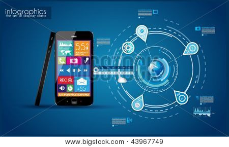 Modern Infographic with a touch screen smartphone in the middle. Design elements and space for text are available in single color squares over the screen. Cloud computng concept.