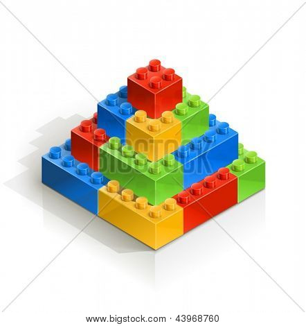 brick piramid meccano toy vector illustration isolated on white background EPS10. Transparent objects and opacity masks used for shadows and lights drawing