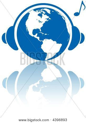 Earth Music World Headphones On Planet