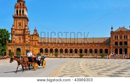 SEVILLE, SPAIN - MAY 17: View of Plaza de Espana on May 17, 2012 in Seville, Spain. Plaza de Espana complex, built in 1929, is a huge half-circle with a total area of 50,000 square meters