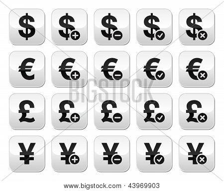 Currency exchange buttons set - dollar, euro, yen, pound
