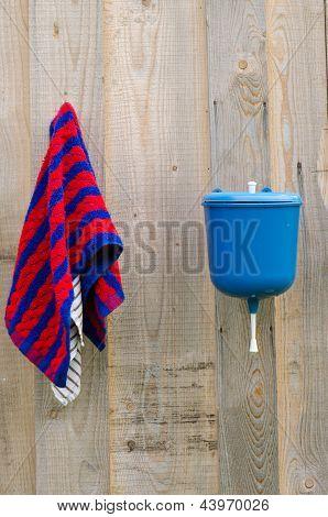Rural Plastic Hand Wash Tool Towel Hang Wood Wall