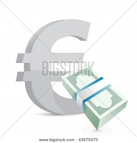Euro Currency Bills Exchange Concept