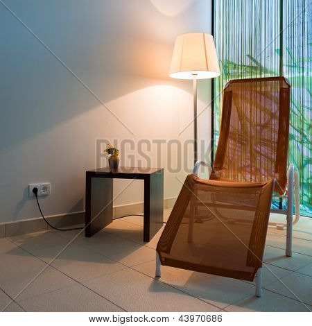couch lounger with small table
