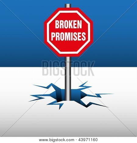 Placa de promesas rotas