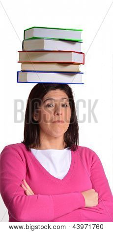 Young woman holding a books over his head.
