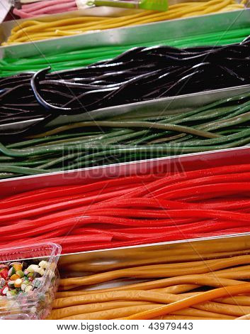 Rows Of Colorful Candy Strings