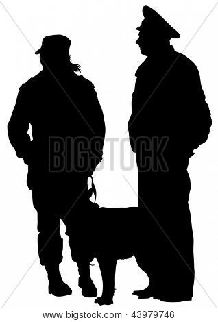 drawing of a police man whit dog