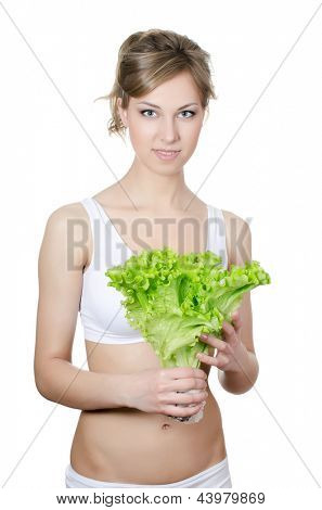 The beautiful girl with green salad isolated