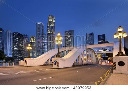 Singapore Skyline By Elgin Bridge