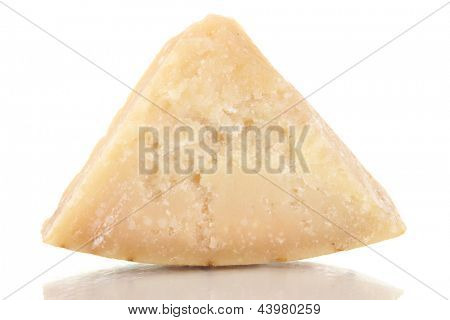Piece of Parmesan cheese isolated on white