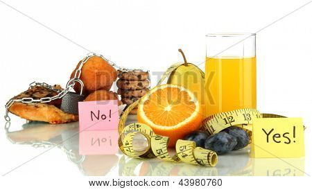 Useful and harmful food isolated on white