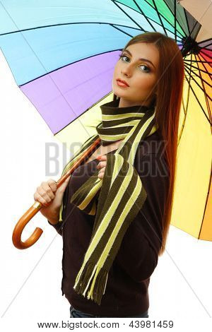 beautiful young woman with colorful umbrella, isolated on white