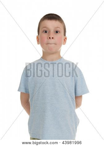 boy with his mouth tightly closed