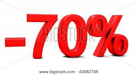 3D rendering of a 70 per cent in red letters on a white