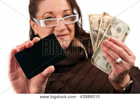 Woman Holding Cash And Credit Card