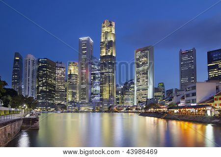 Singapore Skyline By Boat Quay