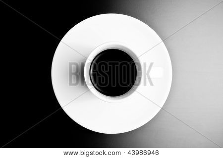Black And White Symmetry, Top View Of Cup Of Black Coffee