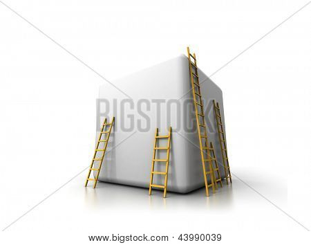 Blank white box isolated on white  background with wooden ladders