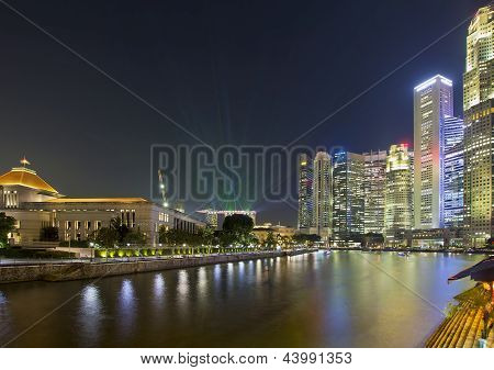 Singapore Nightline By Boat Quay