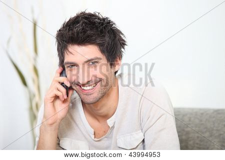 Black man on the phone