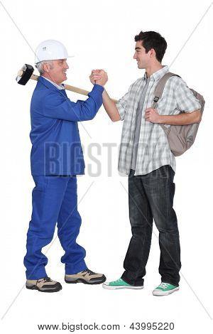 Tradesman making a pact