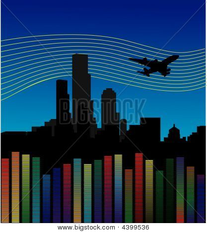 Dark City With Airplane And Equalizer, Volume.