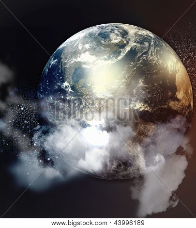 Imagem dos planetas no espaço fantástico contra o fundo escuro. Elementos da imagem são mobilados com