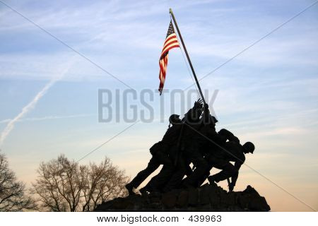 Iwo Jima Memorial At Sunset