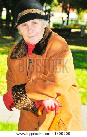 Elderly Woman In Park