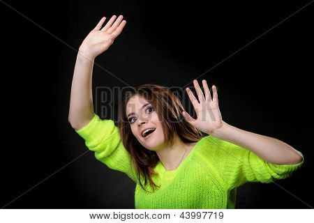 Happy Laughing Girl In Bright Vivid Colour Sweater