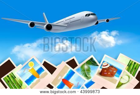Background with airplane and with photos from holidays. Travel concept. Raster version of vector