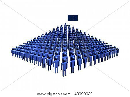Pyramid of abstract people with EU flag illustration