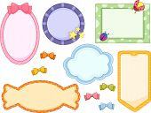 Illustration of cute candy-colored frames in white background with Ribbons