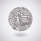 stock photo of hardware  - vector simple circuit board  globe background for logo or icon - JPG