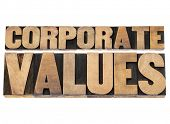 corporate values - business ethics and integrity concept - isolated text in vintage letterpress wood